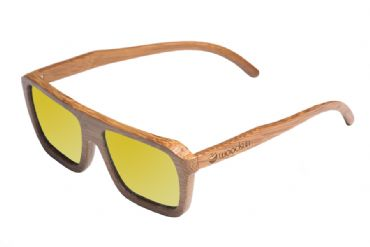 Gafas de sol de madera Natural Carbonized  de Bambú  & Yellow lens