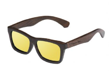 Gafas de sol de madera Natural Painted de ebony  & Yellow lens