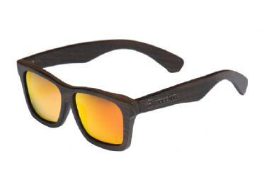 Gafas de sol de madera Natural Painted de ebony  & Orange lens